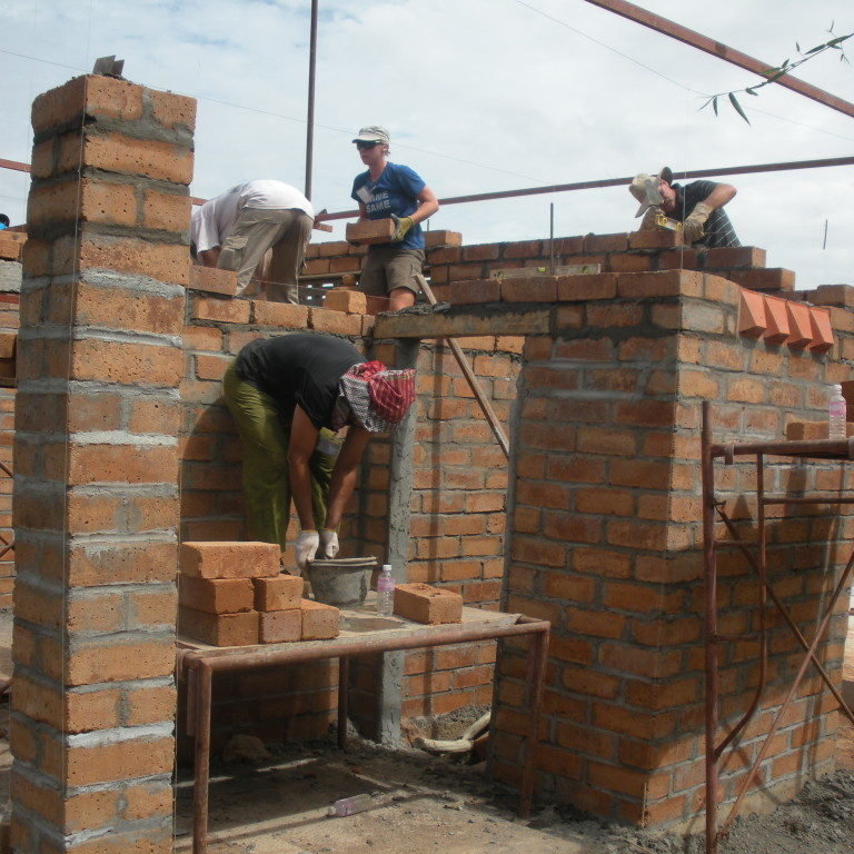 A Global Village team builds in Cambodia, 2011.  Photo credit:  Phil Riner
